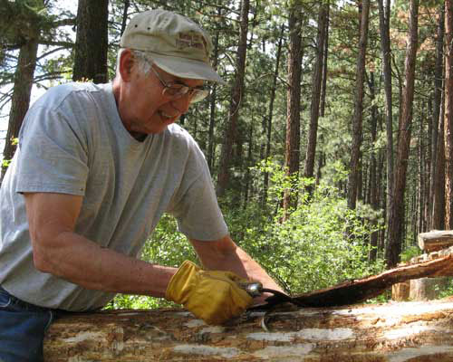 Gary Matson peeling bark with a draw knife.